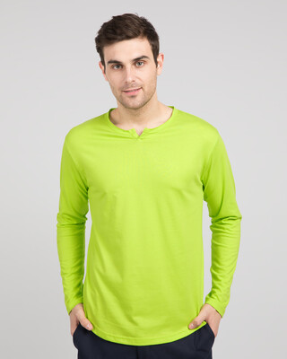 Shop Neon Green Slit Neck Full Sleeve Henley T-Shirt-Front