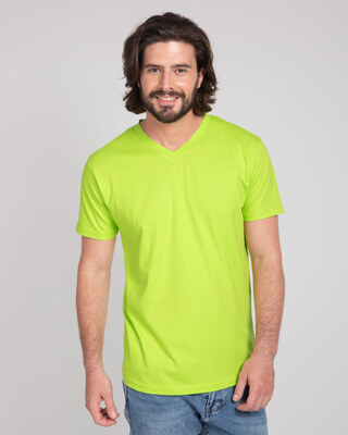 Shop Neon Green V-Neck T-Shirt-Front