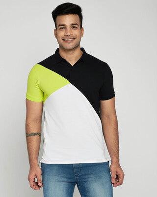 Shop Neon-Lime-Black-White Asymmetric Polo T-Shirt-Front
