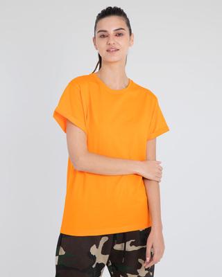Shop Neon Orange Boyfriend T-Shirt-Front