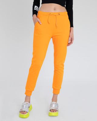 Shop Neon Orange Casual Jogger Pants-Front