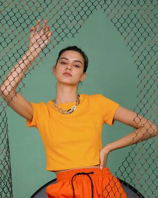 Shop Neon Orange Crop Top T-Shirt-Front