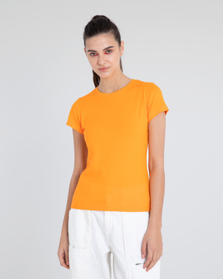 Shop Neon Orange Half Sleeve T-Shirt-Front
