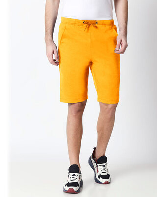 Shop Neon Orange Men's Casual Shorts-Front