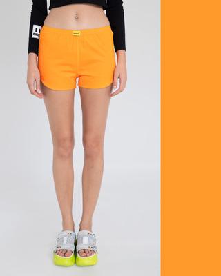 Shop Neon Orange Plain Boxer-Front