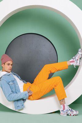 Shop Neon Orange Pyjama-Front