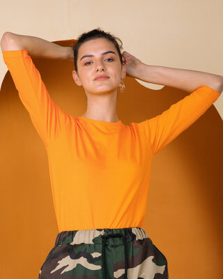 Shop Neon Orange Round Neck 3/4th Sleeve T-Shirt-Front