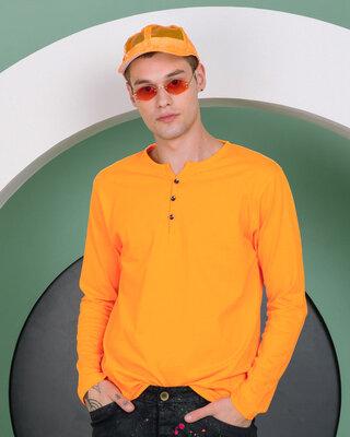 Shop Neon Orange V-Neck Henley T-Shirt-Front