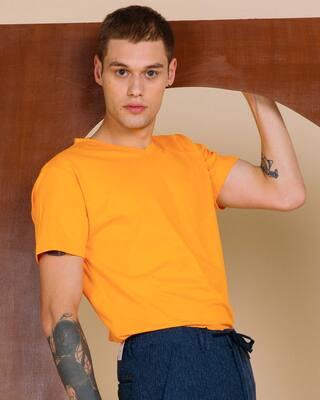 Shop Neon Orange V-Neck T-Shirt-Front