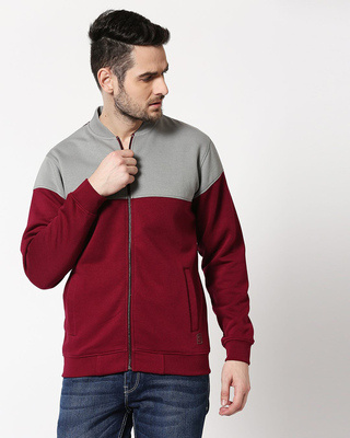 Shop Neutral Grey - Red Plum Panel Zipper Bomber Jacket-Front