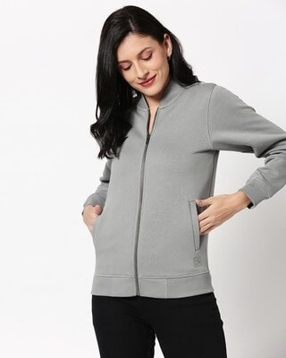 Shop Neutral Grey Zipper Bomber Jacket-Front