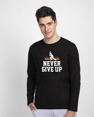 Shop Never Give Up Cricket Full Sleeve T-Shirt Black-Front