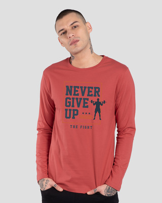 Shop Never Give Up! Full Sleeve T-Shirt-Front