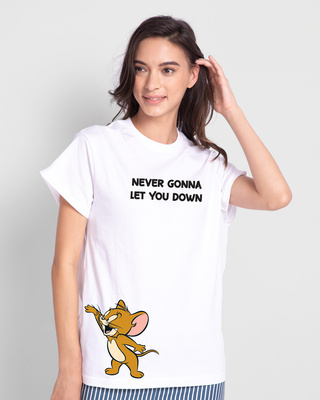 Shop Never Gonna Jerry Printed Boyfriend T-Shirts-Front