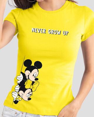 Shop Never Grow Mickey Half Sleeve Printed T-Shirt Pineapple Yellow (DL)-Front
