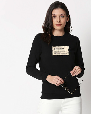Shop Never Mind Note Fleece Sweater Black-Front