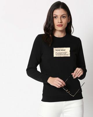 Shop Never Mind Note Fleece Sweater Black-Front