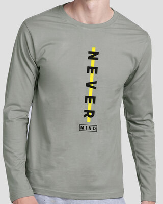 Shop Never Mind Stripe Full Sleeve T-Shirt Meteor Grey-Front