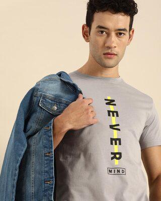 Shop Never Mind Stripe Half Sleeve T-Shirt Meteor Grey-Front