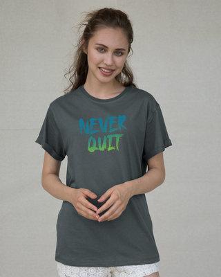 Shop Never Quit Gradient Boyfriend T-Shirt-Front