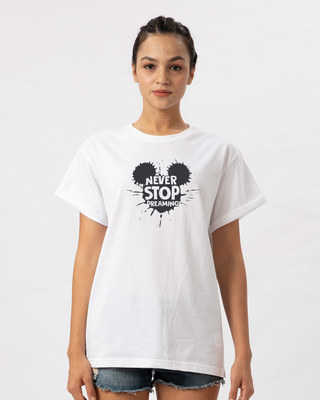 Shop Never Stop Dreaming Mickey Boyfriend T-Shirt (DL)-Front