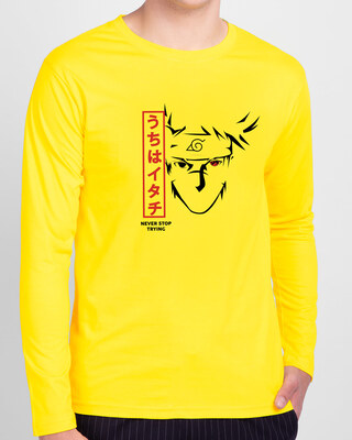 Shop Never Stop Trying Full Sleeve T-Shirt Pineapple Yellow-Front