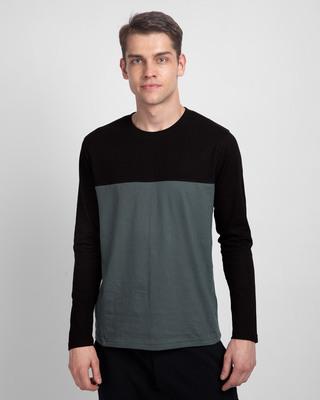 Shop Nimbus Grey & Jet Black 90's Vibe Panel T-Shirt-Front