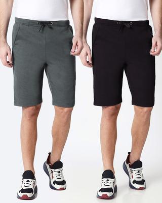 Shop Nimbus Grey Jet Black Shorts Combo-Front