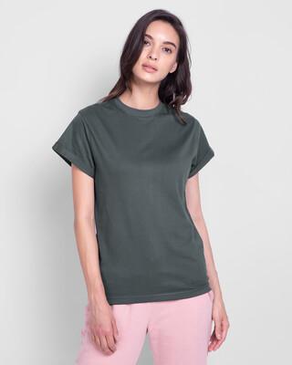Shop Nimbus Grey  Boyfriend T-Shirt-Front