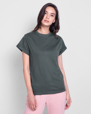 Shop Nimbus Grey Boyfriend T-Shirt-Front