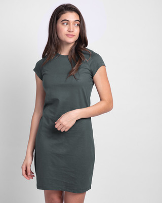 Shop Nimbus Grey Cap Sleeve Plain T-Shirt Dress-Front