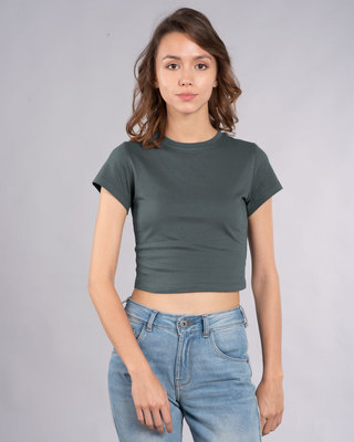 Shop Nimbus Grey Crop Top T-Shirt-Front