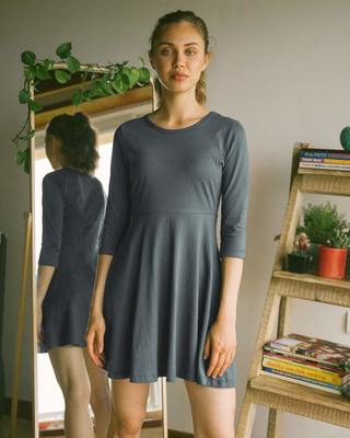 Shop Nimbus Grey Flared Dress-Front