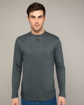 Shop Nimbus Grey Full Sleeve Henley T-Shirt-Front