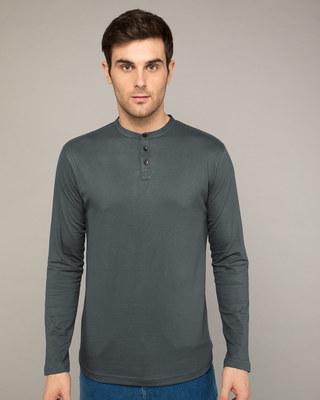 Shop Nimbus Grey Full Sleeve Henley T-Shirt-Front