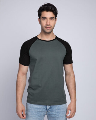 Shop Nimbus Grey-Jet Black Half Sleeve Raglan T-Shirt-Front
