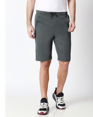 Shop Nimbus Grey Casual Shorts-Front