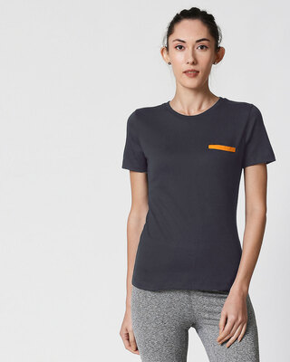 Shop Nimbus Grey-Neon Orange Contrast Bone Pocket Half Sleeves T-Shirt-Front