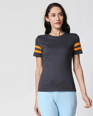 Shop Nimbus Grey-Neon Orange Double Tape Half Sleeves T-Shirt-Front