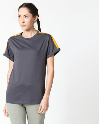 Shop Nimbus Grey-Neon Orange Shoulder Sleeve Boyfriend T-Shirt-Front