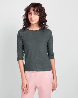 Shop Nimbus Grey Round Neck 3/4th Sleeve T-Shirt-Front