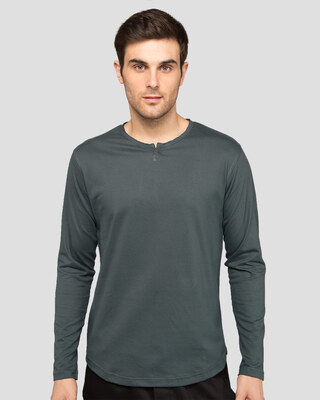 Shop Nimbus Grey Slit Neck Full Sleeve Henley T-shirt-Front
