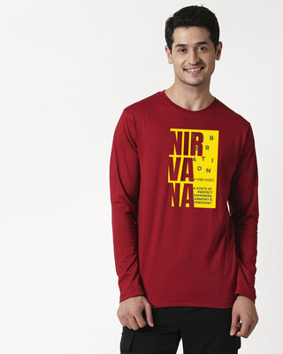 Shop Nir vah nuh Full Sleeve T-Shirt Cherry Red-Front