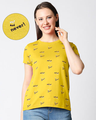 Shop No & Never All Over Printed Round Neck Half Sleeves T-Shirt-Front
