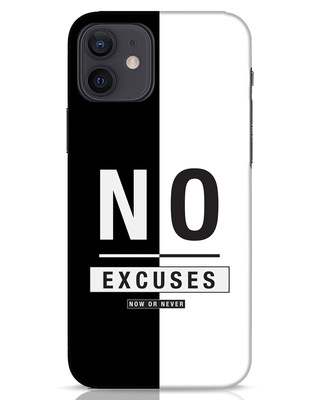 Shop No Excuses Stripe iPhone 12 Mobile Cover-Front