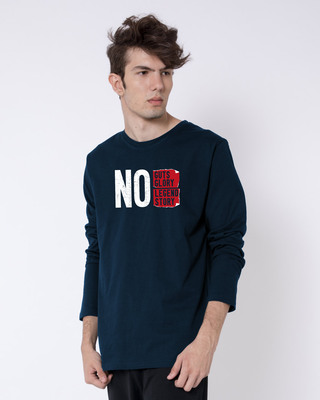 Shop No Legend, No Story Full Sleeve T-Shirt Navy Blue-Front