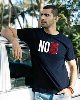 Shop No Legend, No Story Half Sleeve T-Shirt Navy Blue-Front