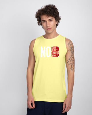 Shop No Legend, No Story Round Neck Vest Pastel Yellow-Front