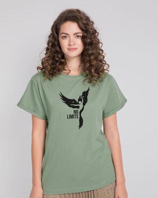 Shop No Limits To Fly Boyfriend T-Shirt Laurel Green-Front