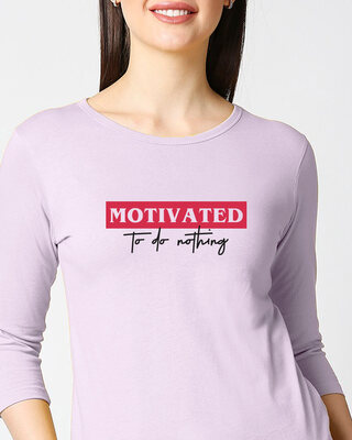 Shop No Motivation Round Neck 3/4th Sleeve T-Shirt-Front